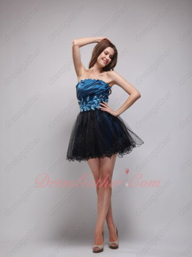Navy Blue Taffeta and Tulle Short Celebrity Evening Dress Leaves/Crystals Decorate