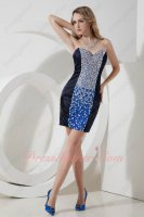Pretty Fanciest Navy Blue Package Hips Full Crystals Short Night Club/Prom Dress