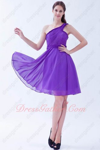 One Shoulder Bright Blue Violet/Amethyst Chiffon Short Prom Dress Music Festival