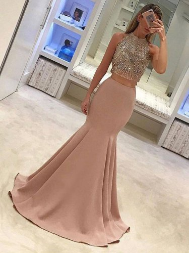 Thick Spandex Giltter Bodice 2 Pieces Show Waist Pleats Mermaid Skirt Evening Gowns