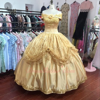 Glory Off Shoulder Gold Satin and Lace Birthday Puffy Ball Gown Quinceanera Factory