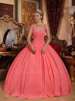 Watermelon Chiffon Double Cap Straps Flat Quinceanera Gown Carnival Hostess Under 180