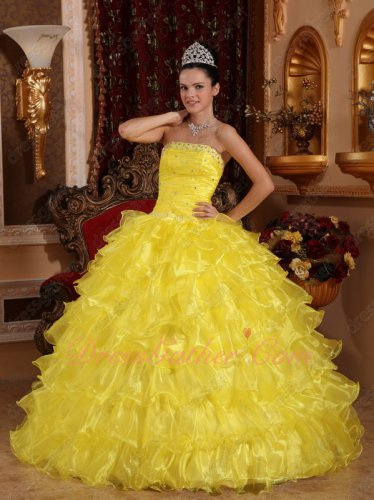 Layers Ruffles Bright Rape Yellow Quinceanera Court Ball Gown Where to Buy
