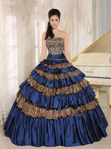 Designer Manuscript Mellow Navy Blue/Leopard Mixed Layers Quinceanera Cake Gown
