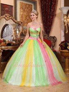 Contrast Color Colorful Spring Green/Hot Pink/Yellow Mingled Quince Ball Gown Tulle
