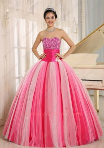 Kinds Tulle Hot Pink/Pink/Off White Gradual Change Fading Color Quincanera Gown