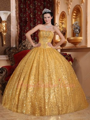 Sparking Golden Sequin Flat Skirt Grand Bustle Quinceanera Evening Ball Gown FL