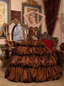 Saddle Brown Taffeta Layers Bubble Winter Quinceanera Ball Gown With Train