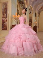 Cute Pink Crossed Layer Cake Fluffy Quinceanera Ball Gown Thick Organza