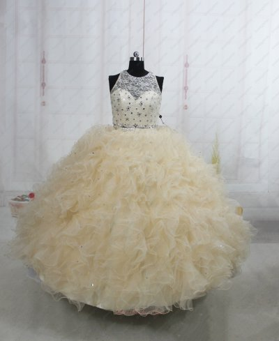 Two-Pieces Champagne Mesh Quinceanera Court Dress Lace Bodice Midriff Costume