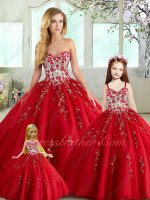 Quinceanera Theme Series Collocation Sale Including Flower Gir and Doll Red Embroidery