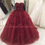 Popular Color Burgundy Handmade 3D Flolwers Quinceanera And Her Court Cheap