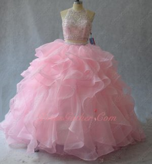 Blush Pink High Collar Two-Pieces Ball Gown Waterfall Ruffles Flexible Horsehair Hem