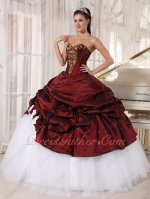 Burgundy Taffeta Overlay Flat Pure White Tulle/Mesh Quinceanera Court Gown