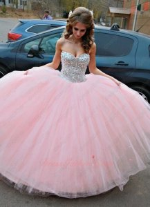 Fashion Trend Blush Pink Sweetheart Bodice Covered Crystals Stage Ball Gown For Quince