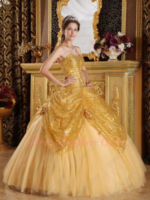 Pretty Golden Sparkling Paillette/Sequin Girls Highlights Ball Gown With Tulle