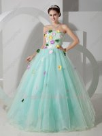 Princess Palest Light Mint Green Tulle/Mesh Fairy Prom Ball Gown Colorful Flowers