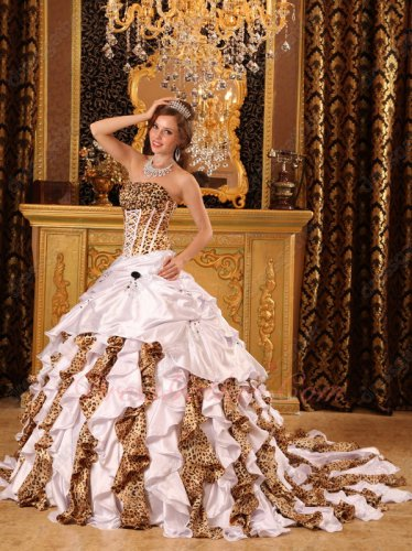 White Silk-Like Satin And Leopard Printed Mixed Ruffle Skirt Quinceanera Dress Train