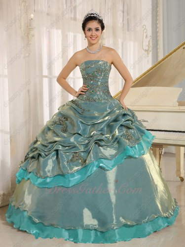 Grayish Blue Glossy Korea Organza Quinceanera Court Ball Gown 15th Birthday