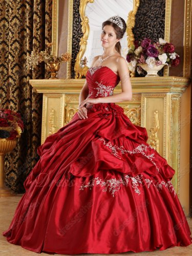 Wine Red Taffeta Bubble Taffeta Fluffy Slip Quinceanera Gown Like Cakes