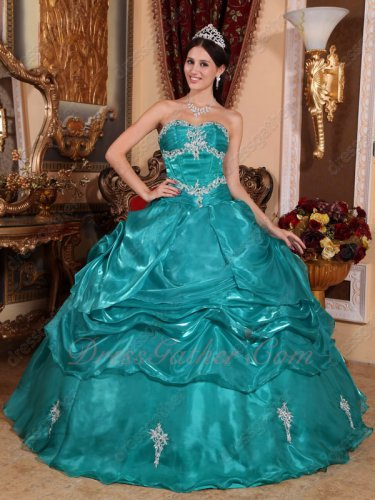 Dark Turquoise Glossy South Korean Organza Amiable Quinceanera Dress Old Fashion