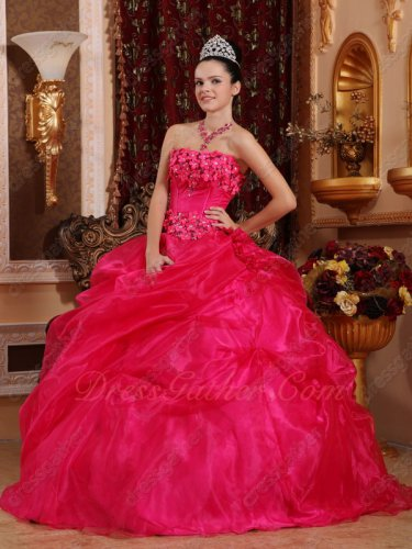 Fuchsia/Magenta Organza Winter Warm Color Quince Ball Gown With Stereoscopic Flowers