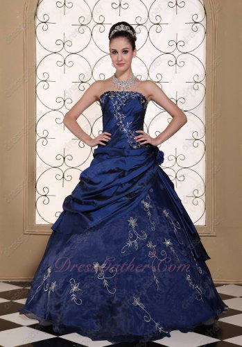 Taffeta and Organza Navy Blue Military Ball Gown With Silver Embroidery