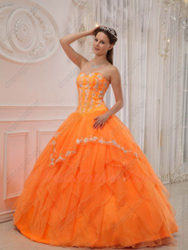 Bright Orange Organza Puffy Quinceanera Ball Gown Runway Beauty Contest