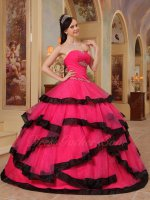 Simple Corset Back Crossed Hot Pink Layers With Black Bordure Princess Ball Gown
