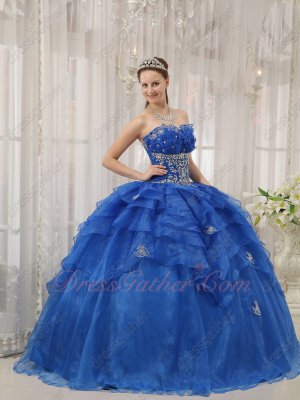 Falbala Neckline Royal Blue Cascade Overlay Quinceanera Ball Dresses Texas