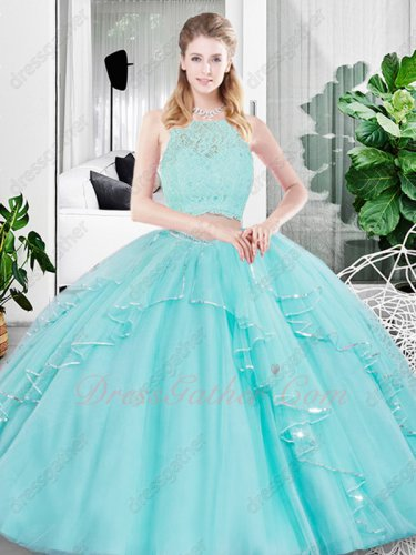 Ice Blue Tulle Girls Prefer Gift Quinceanera Ball Gown Two Pieces Nice Figure