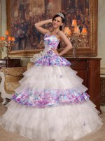 Spaghetti Straps Printed and White Organza Mixed Layers Lovely Quince Ball Gown