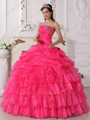 Hot Pink Organza Beauty Pageant Quince Ball Gown Half Bubble Half Layers Skirt