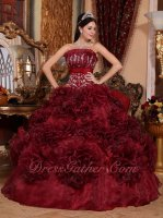 Basque Waist Burgundy Rolled Organza Flowers Skirt Quinceanera Ball Gown Casual