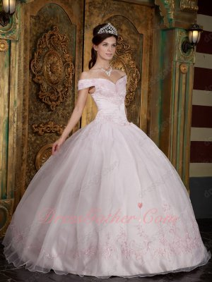 Off Shoulder Palest Light Pink Elegant Quinceanera Prom Ball Gown Girl Princess