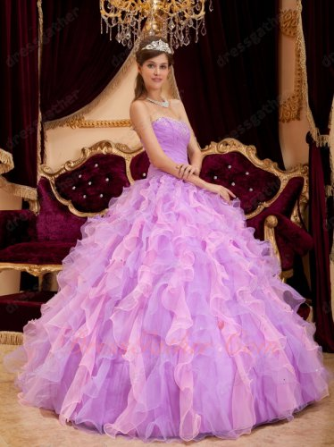 Pretty Lilac And Pink Mingled Ruffles Quinceanera Party Ball Gown Fresh