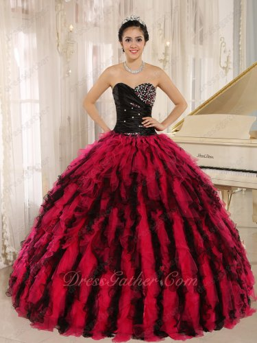 Black and Coral Mingled Circular Ruffles Pretty Military Evening Ball Gown