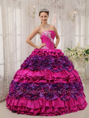Strapless Fuchsia and Purple Rolling Flowers Cake Skirt Quinceanera Dress 2020