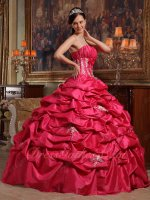 Strapless Coral Red Full Bubble Ball Gown For Quinceanera/Military Party Low Price