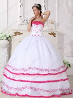 Lolita Fuchsia/Hot Pink Embroidery and Tipping White Quince Ball Dress Theme Color