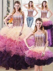 DIY Dress 3 Colors Layers Quinceanera Gown Four Pieces Detachable Different Kinds Wear