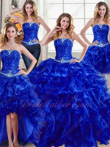 Four Pieces Royal Blue Detachable DIY Wear Women Quinceanera Ball Gown Enchanting