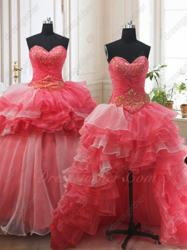 Detachable High Low Ruffles and Flat Ball Gown Coral Vestido de Quinceanera Basque