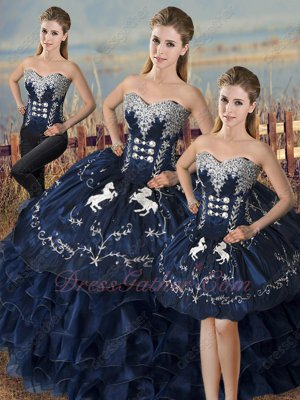 Navy Satin and Organza Waterfall Quinceanera Gown Embroidery Horse/Fastener Detachable