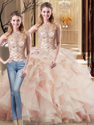 Changeable Wear Two Pieces Blush Quinceanera Gowns Horsehair Edging Decorate Ruffles