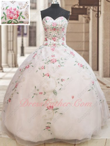 White Organza Maid Quinceanera Ball Gown Exquisite Rose Pink Embroidery Colorful