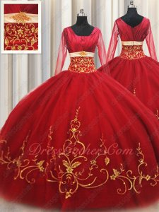 Red With Gold Embroidery Quinceanera Ball Gown Square Long Sleeves Traditional