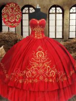 Latin America 15th Vestidos De Quinceanera Red Ball Gown Gold Embroidery Horseshoe