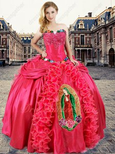 Coral Quinceanera Ball Gown Female Deity Blessed Virgin Mary Embroidery Religion Theme
