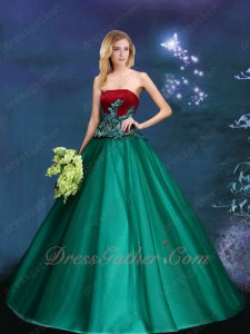Wine Red Bodice Hunter Green Skirt Different Color Military Prom Ball Gown Mature